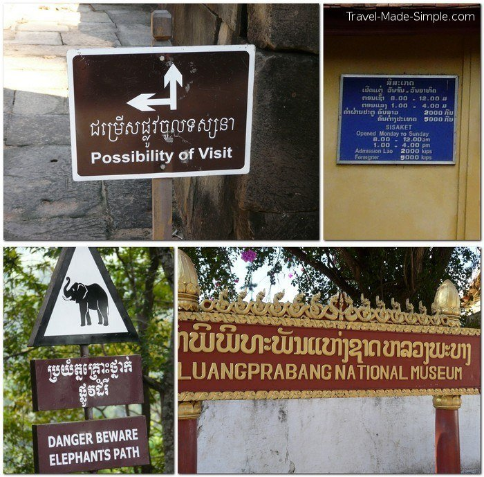 fear of not speaking the language - signs in Laos and Cambodia