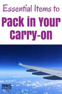 Even though I'm a big believer in carry-on only travel, there are times when checking luggage is necessary. Here's what to pack in your carry-on bag. #traveltips #travelhacks #packingtips #luggage