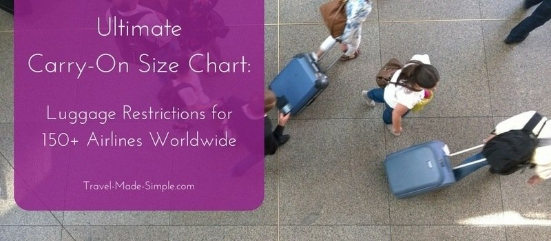 carry-on size chart by airline
