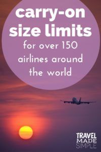 carry-on luggage size limits for over 150 airlines