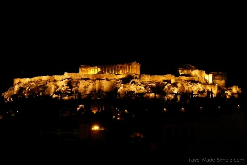 Athens ruins at night one week in Greece itinerary