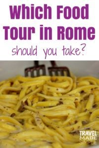 Food is a big part of travel, especially travel in Italy. Food tours are a great way to learn about the cuisine. So which food tour in Rome should you take? Here's a look at two food tours we've taken in Rome. #rome #italy #foodtours #traveltips