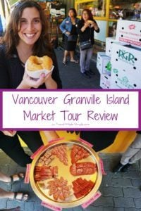 Food tours are a fun way to learn about culture. In her Vancouver Granville Island Market Tour Review, Gigi tells us what she ate and learned on the tour. #vancouver #canada #traveltips
