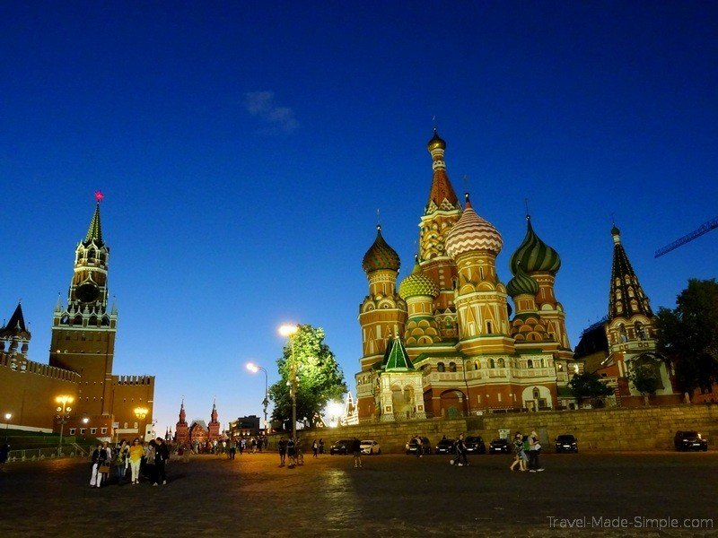 Viking Russia river cruise Moscow Red Square at night