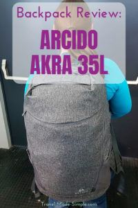 I'm always looking for ways of packing less or traveling with a smaller bag. Check out my Arcido Akra 35L backpack review to see how it worked for carry-on travel. #traveltips #luggage #backpack #reviews