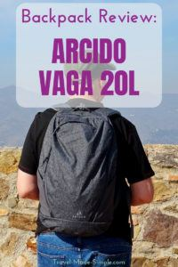 Looking for a great daypack? Check out my Arcido Vaga 20L backpack review. It's comfortable, can fit a laptop sleeve from the Akra, and fits inside the Akra. #luggage #daypack #backpack #traveltips #carryon
