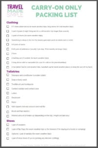 Deciding which things to pack for a trip can be stressful. You don't need so much stuff! Here's my travel packing checklist that'll help you go carry-on only. Download the carry-on only packing list here! #packinglist #packingchecklist #traveltips #travelhacks #printables