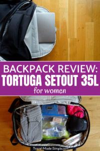 I recently reviewed the Tortuga 35L Setout Women's Backpack, and it holds a lot of stuff! The bag has so many pockets, a laptop sleeve, hideaway straps, and more. #backpack #luggage #packing #packingtips #reviews #traveltips #carryon #tortuga