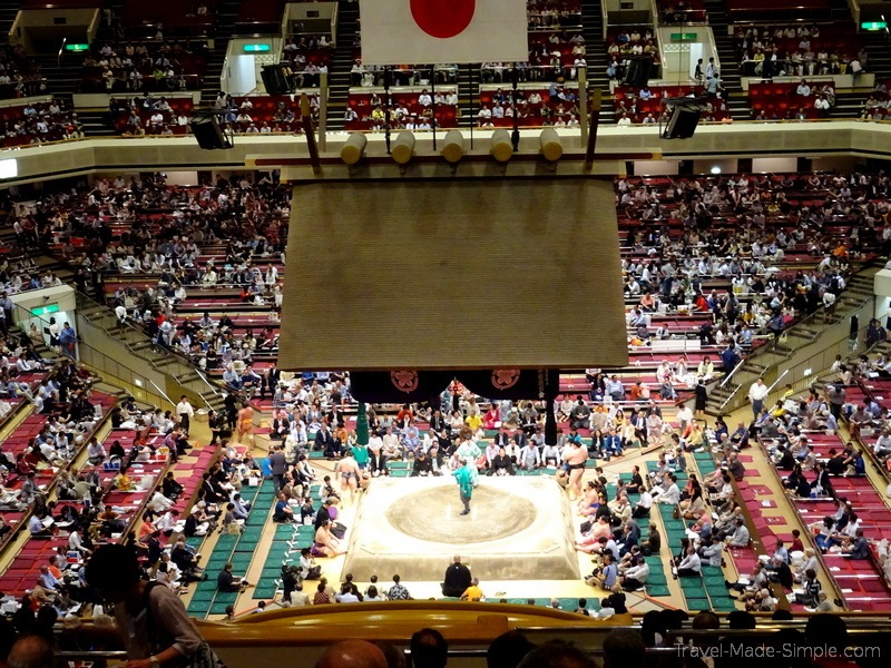 sumo wrestling in Japan full stadium
