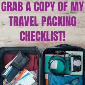 travel packing checklist newsletter signup