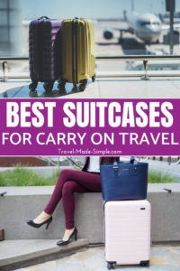 Find the right rolling bag for your needs with this list of the best suitcases for carry on travel as recommended by travel bloggers and frequent travelers. #packing #carryon #traveltips #suitcases #luggage