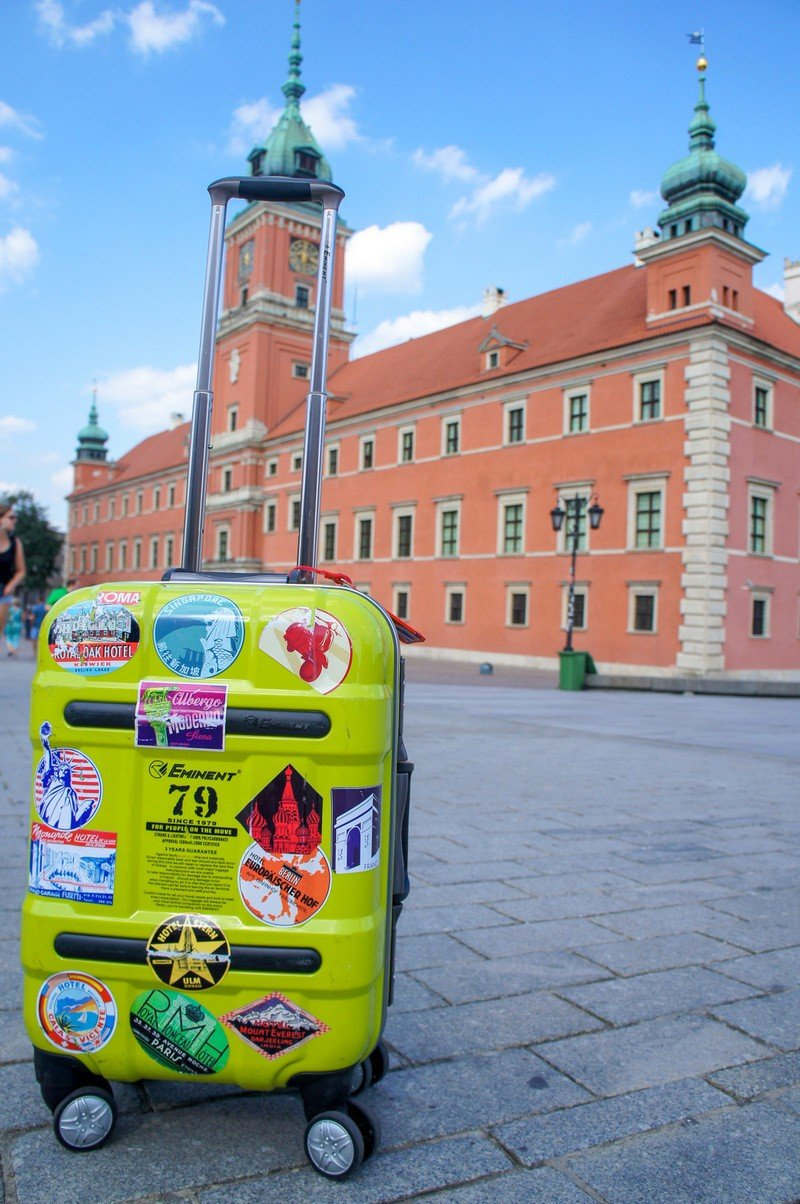 Welcome to Poland! - suitcase in a square in Poland